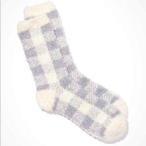 American Eagle Grey and White Plaid Socks